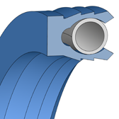 Cross section sketch Piston Seal (Hydraulic) NRRA