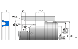 Installation sketch Piston Seal (Pneumatic)